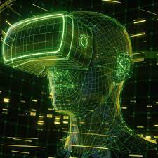 A design of someone wearing a VR headset, something essential to the metaverse
